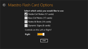 Maestro Flash Card Options